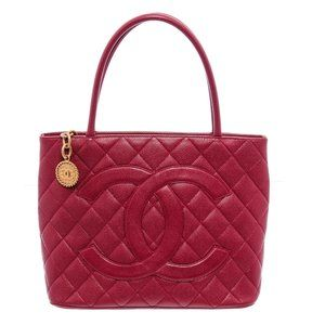 Chanel Red Quilted Leather Medallion Tote